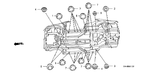 2008 civic EX 2 DOOR 5MT GROMMET (LOWER) diagram