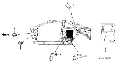 2009 civic DX 2 DOOR 5MT GROMMET (SIDE) diagram