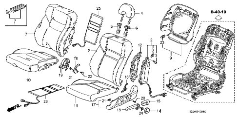 2008 civic SI 2 DOOR 6MT FRONT SEAT (L.) diagram