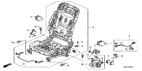 2009 civic EX 2 DOOR 5AT FRONT SEAT COMPONENTS (L.) diagram