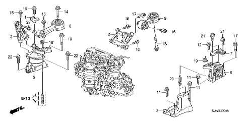 2008 civic EX 2 DOOR 5MT ENGINE MOUNTS (1.8L) (MT) diagram