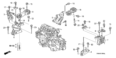 2008 civic DX 2 DOOR 5AT ENGINE MOUNTS (AT) diagram