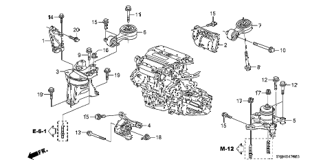 2008 civic SI(NAV) 2 DOOR 6MT ENGINE MOUNTS (2.0L) (MT) diagram
