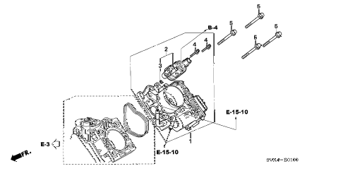2007 civic EX 2 DOOR 5MT THROTTLE BODY (1.8L) diagram