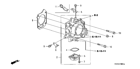 2007 civic SI(SUM TIRE) 2 DOOR 6MT THROTTLE BODY (2.0L) diagram