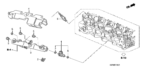 2008 civic DX 2 DOOR 5MT FUEL INJECTOR (1.8L) diagram