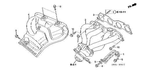 2008 civic SI(SUM TIRE,NAV) 2 DOOR 6MT EXHAUST MANIFOLD (2.0L) diagram
