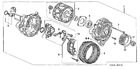 2009 civic EX 2 DOOR 5MT ALTERNATOR (MITSUBISHI) (1.8L) diagram