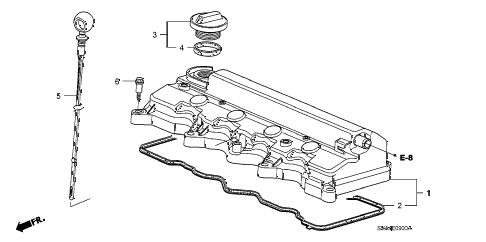 2007 civic LX 2 DOOR 5AT CYLINDER HEAD COVER (1.8L) diagram