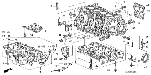 2009 civic EX 2 DOOR 5AT CYLINDER BLOCK - OIL PAN (1.8L) diagram