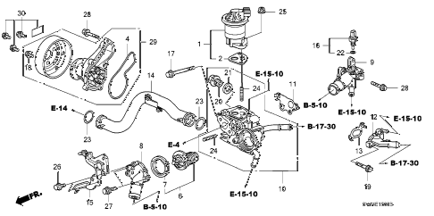 2006 civic EX 2 DOOR 5MT WATER PUMP (1.8L) diagram