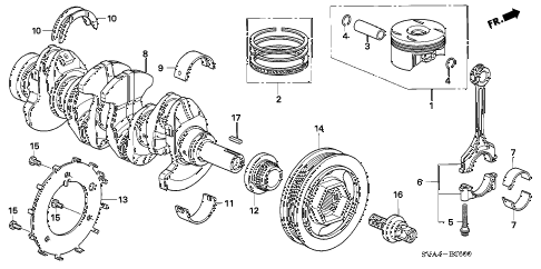 2007 civic EX 2 DOOR 5MT CRANKSHAFT - PISTON (1.8L) diagram