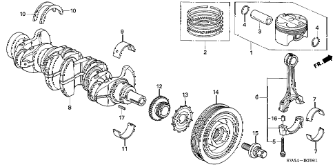 2008 civic SI(NAV) 2 DOOR 6MT CRANKSHAFT - PISTON (2.0L) diagram