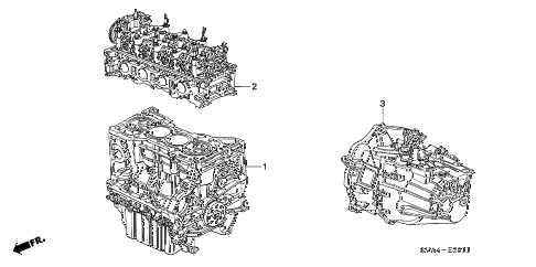 2007 civic SI(SUM TIRE) 2 DOOR 6MT ENGINE ASSY. - TRANSMISSION ASSY. (2.0L) diagram