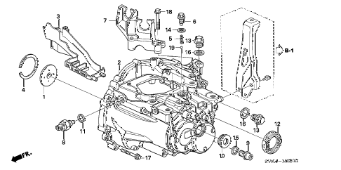 2009 civic EX 2 DOOR 5MT TRANSMISSION CASE (1.8L) diagram