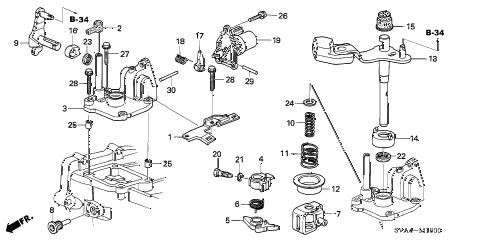 2009 civic SI(NAV) 2 DOOR 6MT SHIFT ARM - SHIFT LEVER (2.0L) diagram