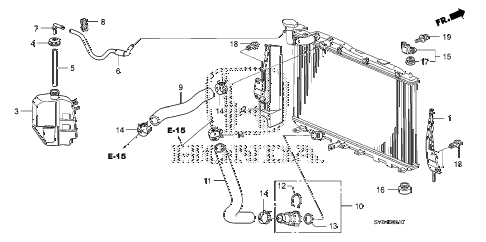 2010 civic EX-L 2 DOOR 5MT RADIATOR HOSE - RESERVE TANK (1.8L) diagram