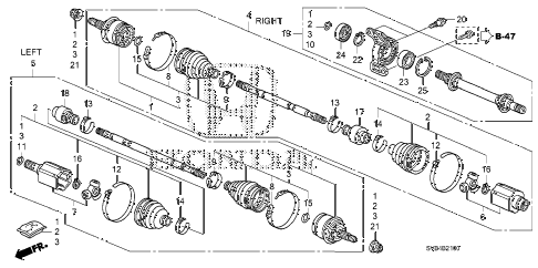 2010 civic EX-L(NAV) 2 DOOR 5MT DRIVESHAFT - HALF SHAFT (1.8L) (MT) diagram