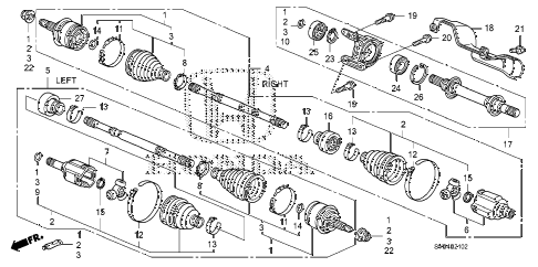 2010 civic SI(HPT,NAV) 2 DOOR 6MT DRIVESHAFT - HALF SHAFT (2.0L) diagram