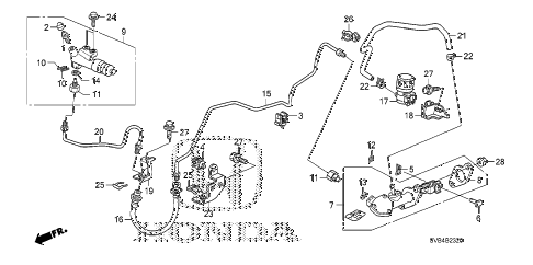 2010 civic LX 2 DOOR 5MT CLUTCH MASTER CYLINDER (1.8L) (KA) (KC) diagram