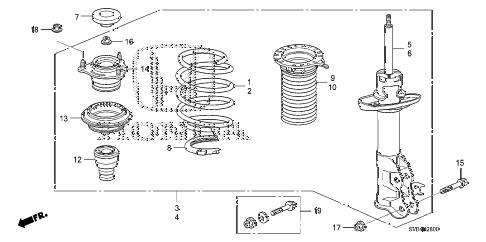 2010 civic EX-L 2 DOOR 5MT FRONT SHOCK ABSORBER diagram