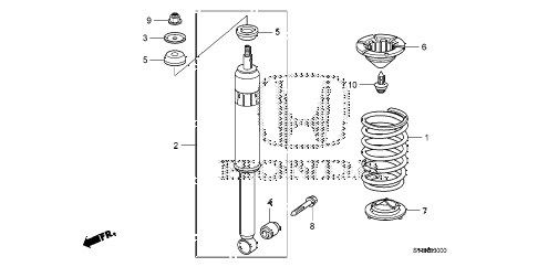 2011 civic SI(HPT) 2 DOOR 6MT REAR SHOCK ABSORBER diagram