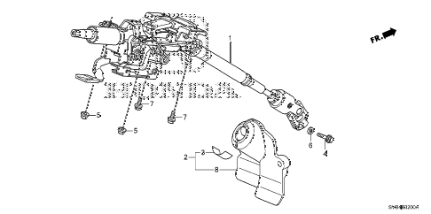 2010 civic SI(NAV) 2 DOOR 6MT STEERING COLUMN diagram