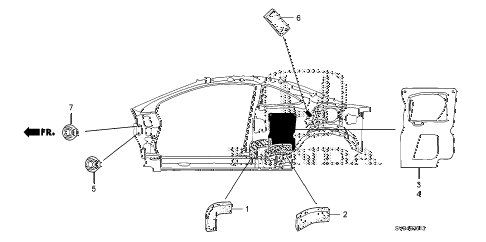 2010 civic SI(HPT,NAV) 2 DOOR 6MT GROMMET (SIDE) diagram