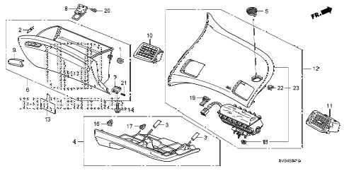 2010 civic EX-L 2 DOOR 5MT INSTRUMENT PANEL GARNISH (PASSENGER SIDE) diagram