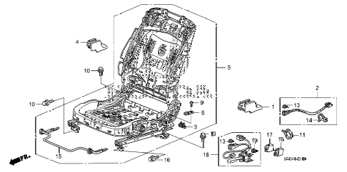 2010 civic EX-L(NAV) 2 DOOR 5MT FRONT SEAT COMPONENTS (L.) diagram
