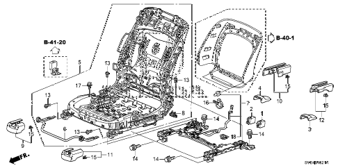 2011 civic SI(NAV) 2 DOOR 6MT FRONT SEAT COMPONENTS (R.) diagram