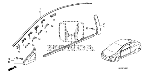 2010 civic LX 2 DOOR 5MT MOLDING diagram