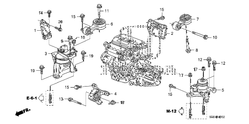 2010 civic SI(NAV) 2 DOOR 6MT ENGINE MOUNTS (2.0L) (MT) diagram