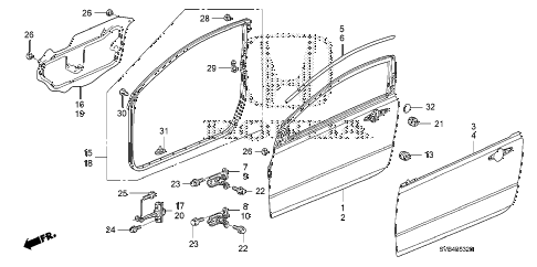 2010 civic EX-L 2 DOOR 5MT DOOR PANELS diagram