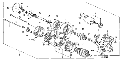 2011 civic EX 2 DOOR 5MT STARTER MOTOR (DENSO) (1.8L) diagram