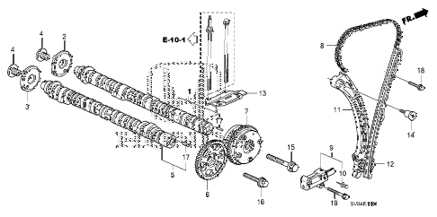 2010 civic SI(NAV) 2 DOOR 6MT CAMSHAFT - CAM CHAIN (2.0L) diagram