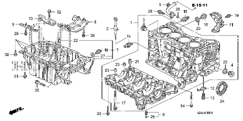 2011 civic SI(NAV) 2 DOOR 6MT CYLINDER BLOCK - OIL PAN (2.0L) diagram