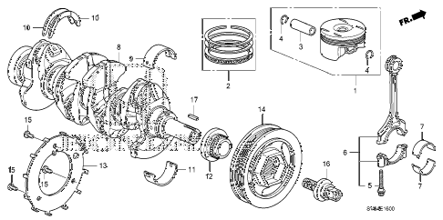 2010 civic LX 2 DOOR 5MT CRANKSHAFT - PISTON (1.8L) diagram