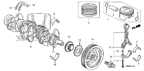 2010 civic SI(NAV) 2 DOOR 6MT CRANKSHAFT - PISTON (2.0L) diagram