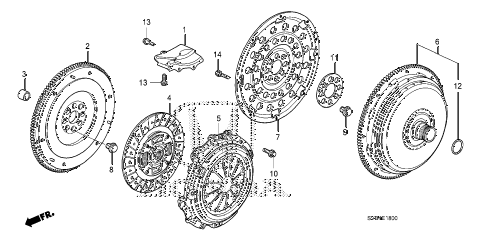 2011 civic EX 2 DOOR 5MT CLUTCH - TORQUE CONVERTER (1.8L) diagram