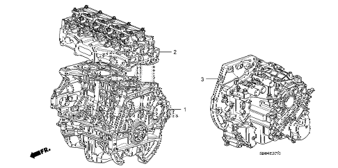 2010 civic LX 2 DOOR 5MT ENGINE ASSY. - TRANSMISSION ASSY. (1.8L) diagram