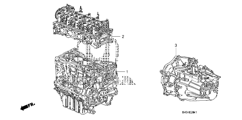 2010 civic SI(NAV) 2 DOOR 6MT ENGINE ASSY. - TRANSMISSION ASSY. (2.0L) diagram