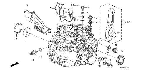 2010 civic EX-L(NAV) 2 DOOR 5MT MT TRANSMISSION CASE (1.8L) diagram