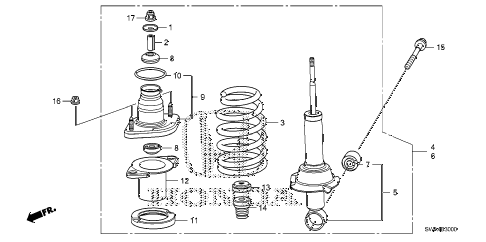 2007 cr-v EX(2WD) 5 DOOR 5AT REAR SHOCK ABSORBER diagram