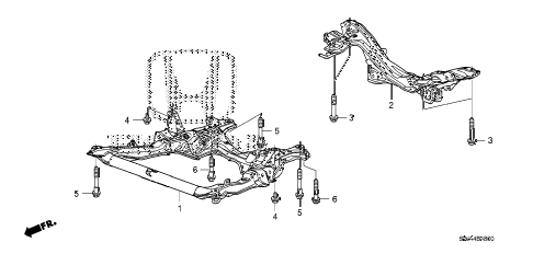2010 cr-v EX(4WD) 5 DOOR 5AT FRONT SUB FRAME - REAR BEAM diagram