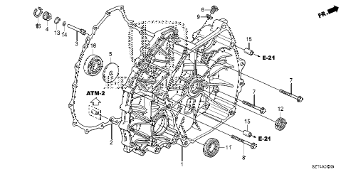 2012 cr-z EX 3 DOOR CVT CVT FLYWHEEL CASE diagram