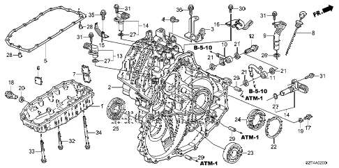 2011 cr-z EX(NV) 3 DOOR CVT CVT TRANSMISSION CASE diagram
