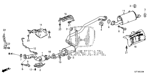 2011 cr-z EX 3 DOOR CVT EXHAUST PIPE - MUFFLER diagram