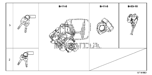2011 cr-z EX(NV) 3 DOOR CVT KEY CYLINDER SET diagram