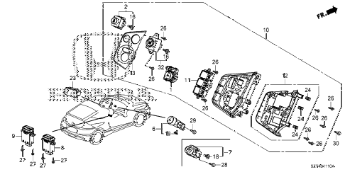 2011 cr-z EX(NV) 3 DOOR CVT SWITCH diagram